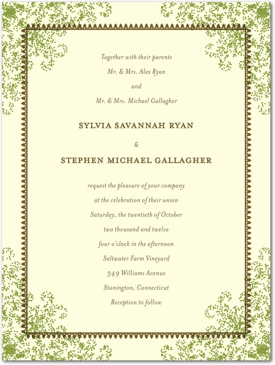 Letterpress wedding invitations, Charmed Moss