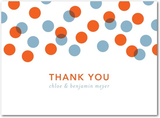 Letterpress thank you cards, Dots and Delight