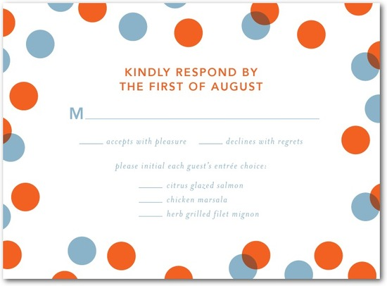 photo of Letterpress wedding response cards, Dots and Delight