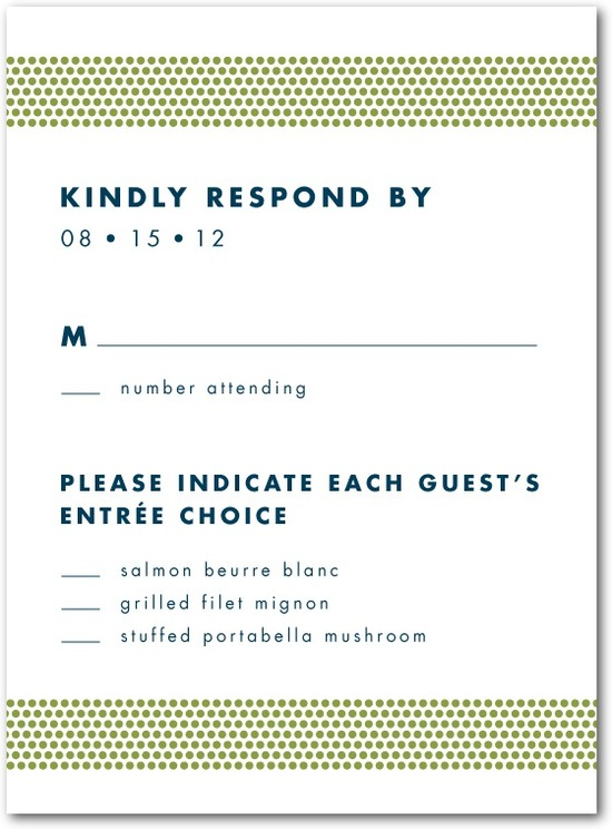 photo of Letterpress wedding response cards, Dashing Dotted Bands
