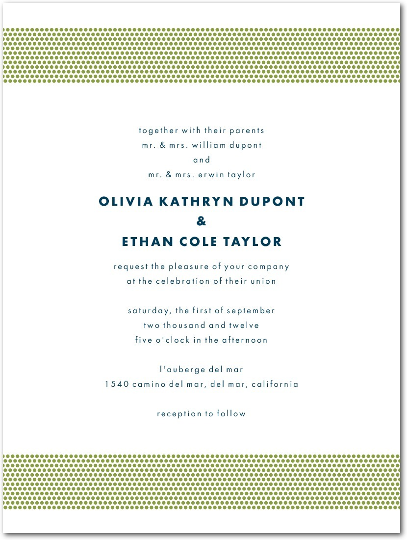 Letterpress wedding invitations, Dashing Dotted Bands