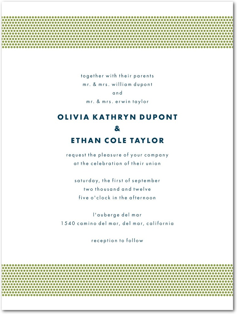 photo of Letterpress wedding invitations, Dashing Dotted Bands