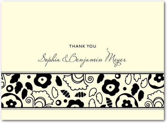 Letterpress thank you cards, Backyard Chic