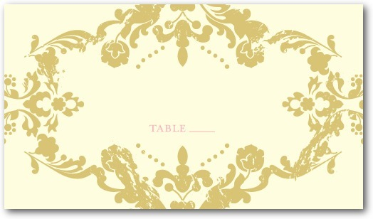 Letterpress place cards, Lavish Damask