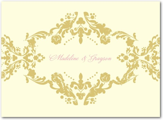 Letterpress thank you cards, Lavish Damask