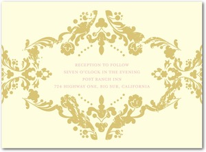 photo of Letterpress wedding reception cards, Lavish Damask