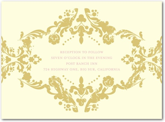 photo of Letterpress wedding reception cards, Lavish Damask