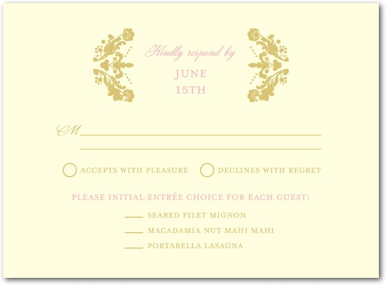 Letterpress wedding response cards, Lavish Damask