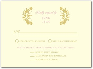 photo of Letterpress wedding response cards, Lavish Damask
