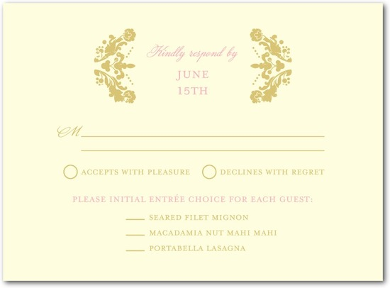 photo of Letterpress wedding response cards, Lavish Damask