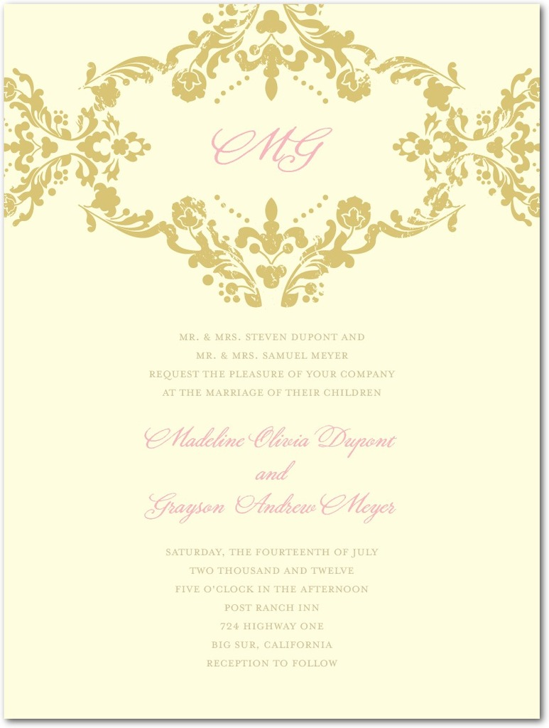 photo of Letterpress wedding invitations, Lavish Damask