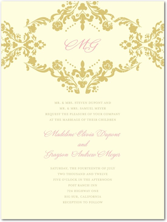 Letterpress wedding invitations, Lavish Damask
