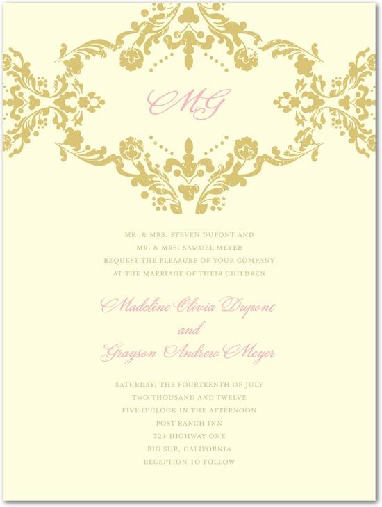 photo of Letterpress wedding invitations, Lavish Damask