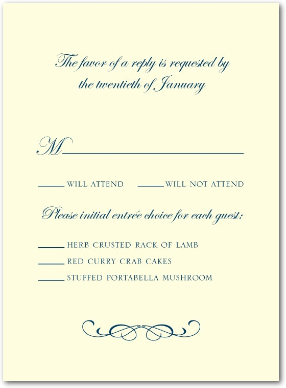 photo of Letterpress wedding response cards, Stately Script