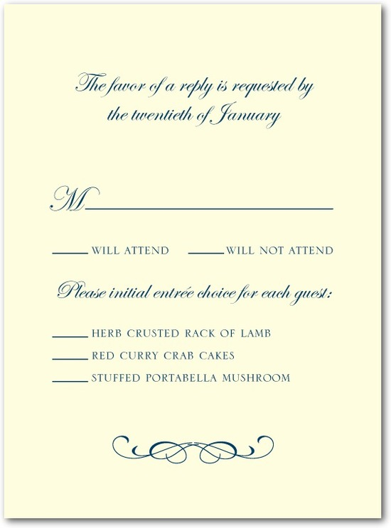 Letterpress wedding response cards, Stately Script