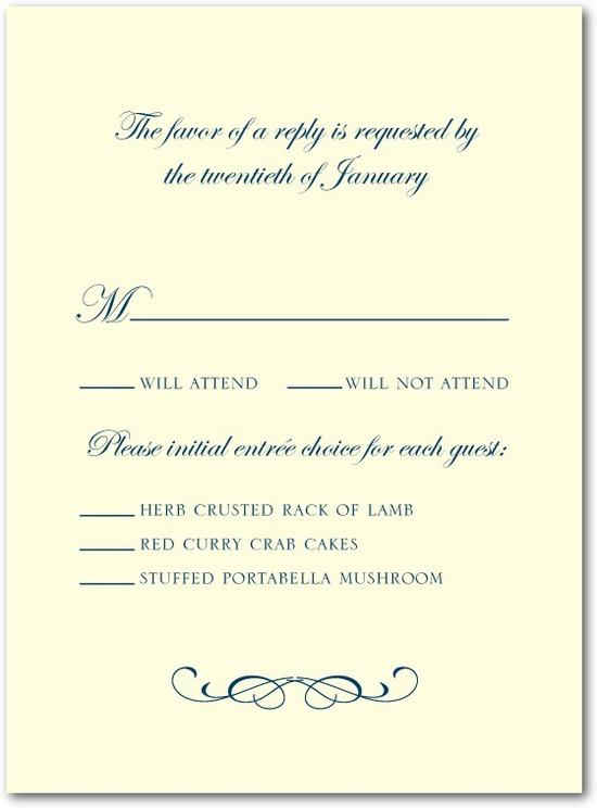 photo of Letterpress wedding response cards, Stately Script