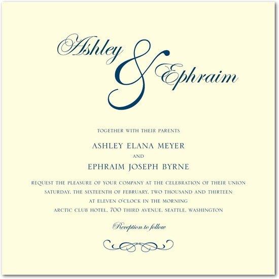 Letterpress wedding invitations, Stately Script