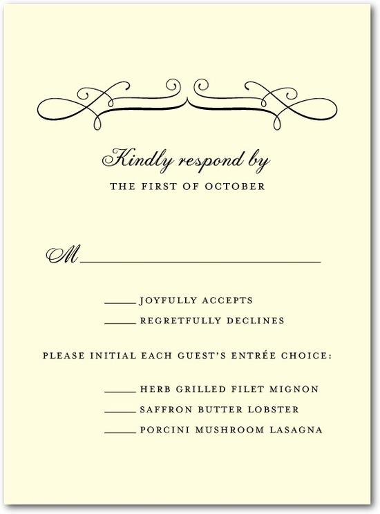 photo of Letterpress wedding response cards, Fine Swirls