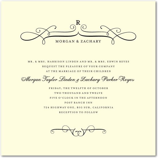 photo of Letterpress wedding invitations, Fine Swirls