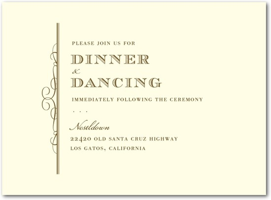 Letterpress wedding reception cards, Timeless Grandeur