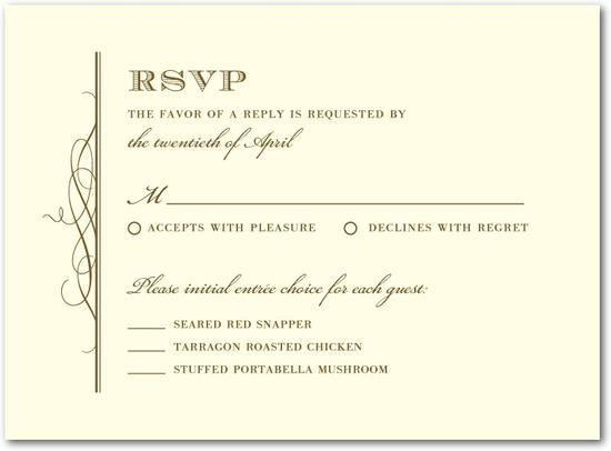 Letterpress wedding response cards, Timeless Grandeur