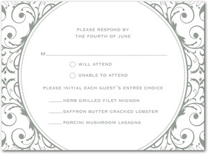 photo of Letterpress wedding response cards, Opulent Appliqu__
