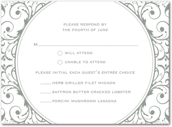 Letterpress wedding response cards, Opulent Appliqu__