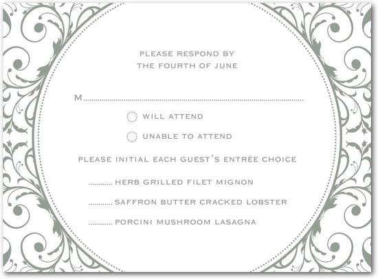 photo of Letterpress wedding response cards, Opulent Appliqu__