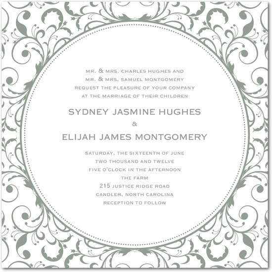 Letterpress wedding invitations, Opulent Appliqu__