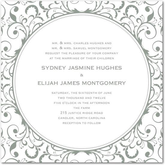 photo of Letterpress wedding invitations, Opulent Appliqu__