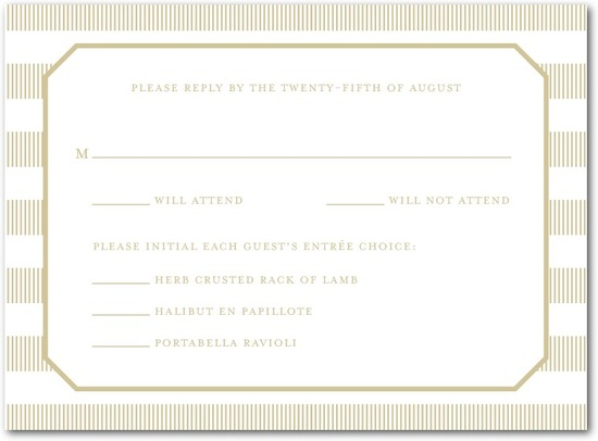 Letterpress wedding response cards, Linen Love