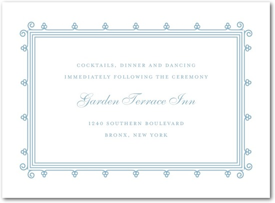 Letterpress wedding reception cards, Lovely Antique