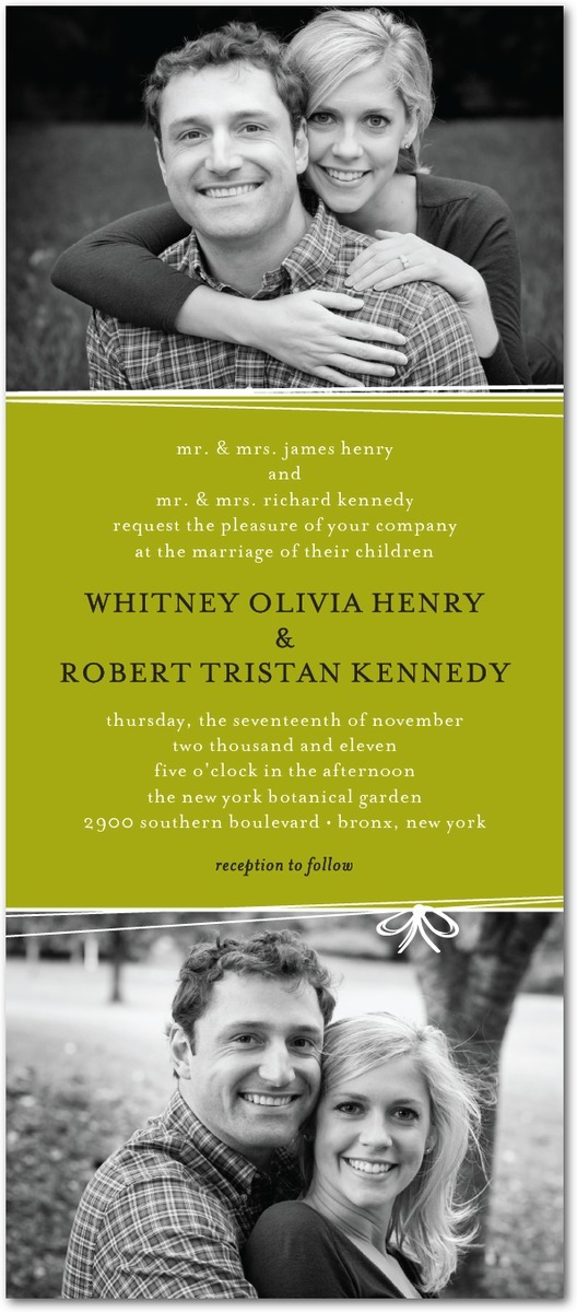 Signature white wedding invitations, String Bow