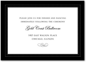 photo of Signature white wedding reception cards, Tasteful Tailoring