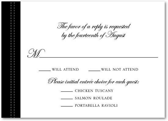 Signature white wedding response cards, Tasteful Tailoring