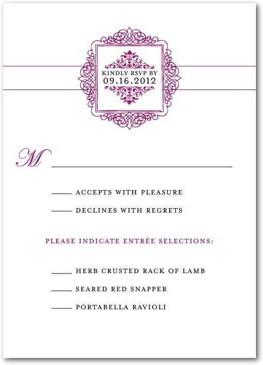 Signature white wedding response cards, Splendid Scrolls