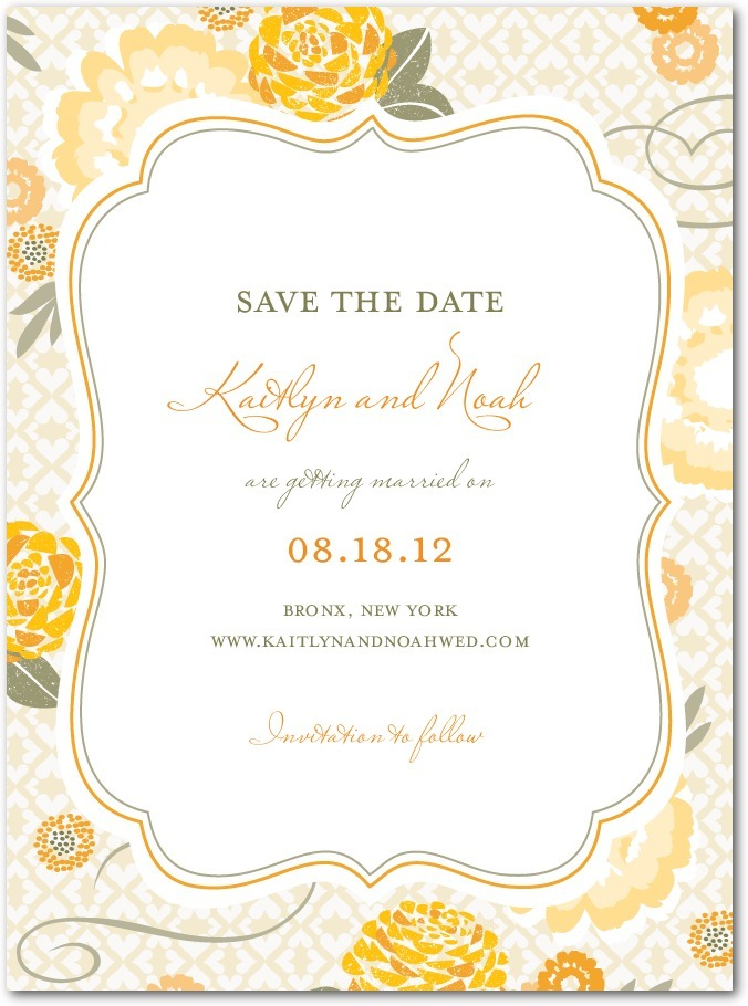 Signature white save the date cards, Bohemian Summer