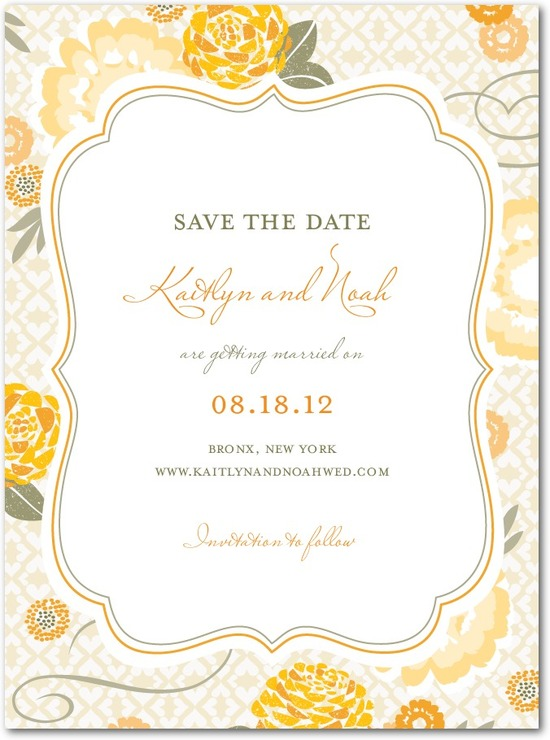 photo of Signature white save the date cards, Bohemian Summer