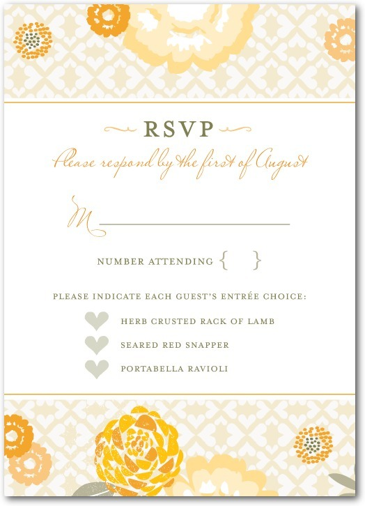 Signature white wedding response cards, Bohemian Summer