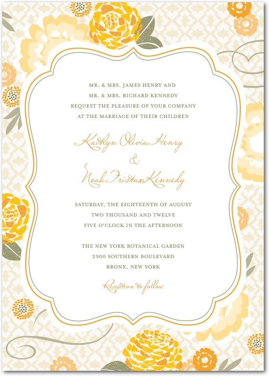 Signature white wedding invitations, Bohemian Summer