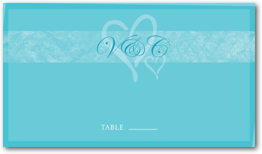 photo of Signature white place cards, Shared Hearts