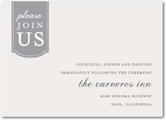 photo of Signature white wedding reception cards, Romantic Tab