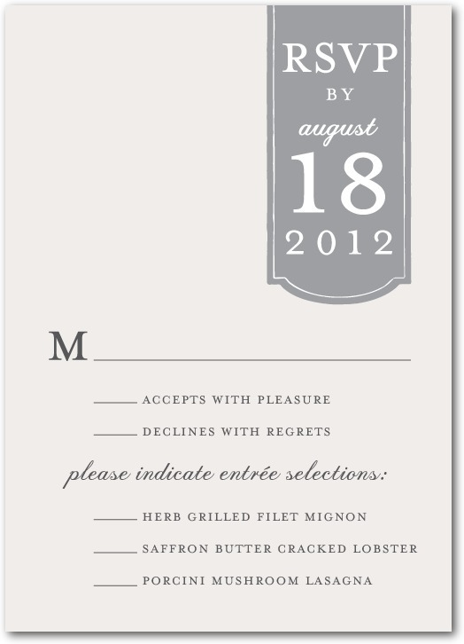 Signature white wedding response cards, Romantic Tab