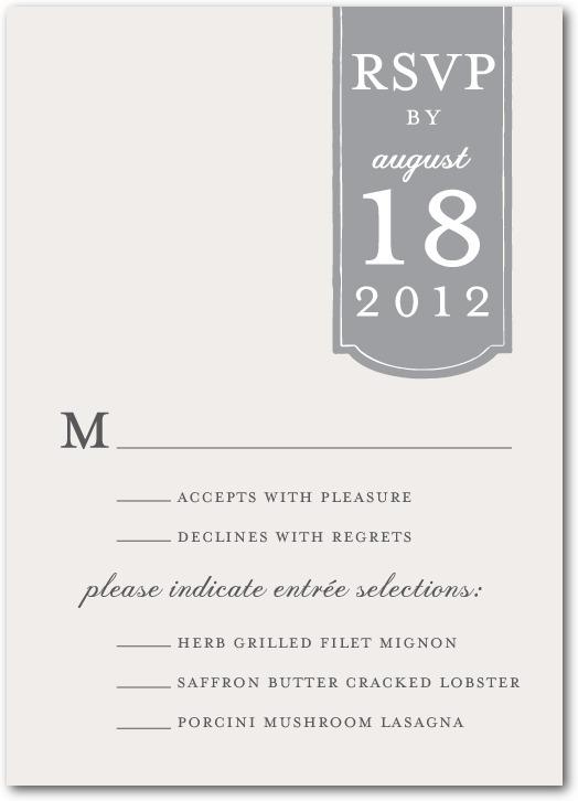 photo of Signature white wedding response cards, Romantic Tab