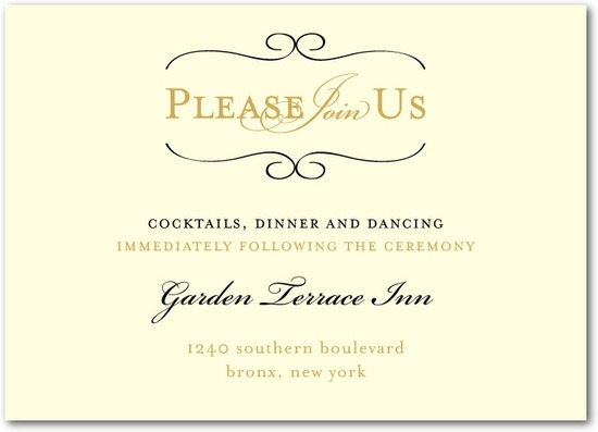photo of Signature white wedding reception cards, Restored Calendar