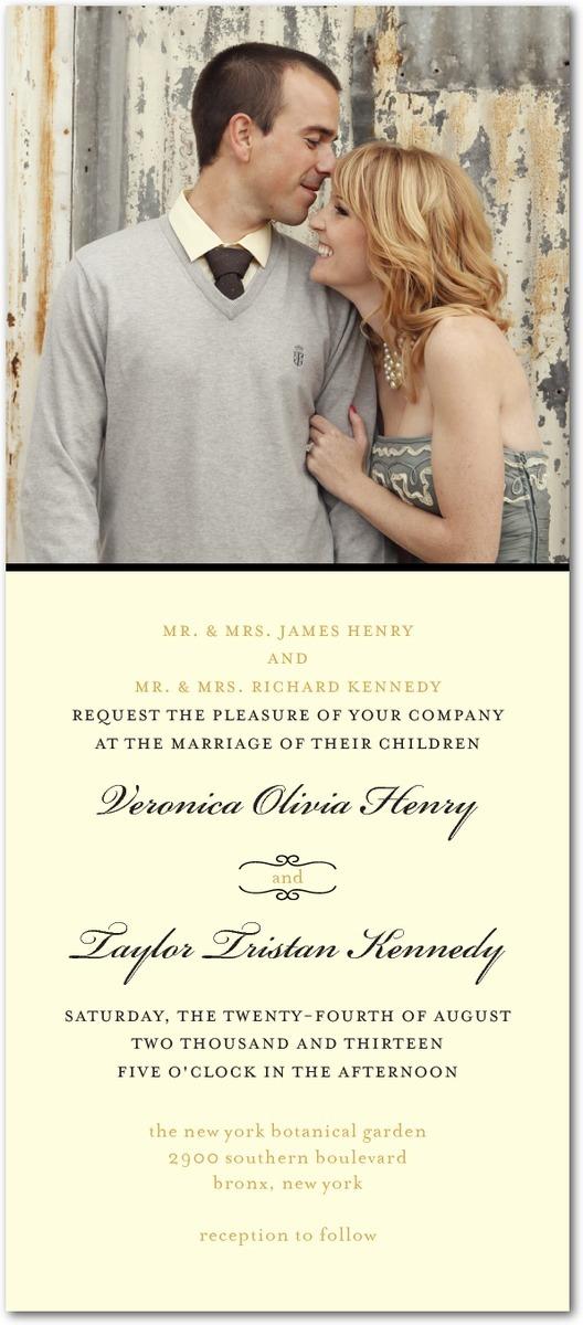 photo of Signature white wedding invitations, Restored Calendar