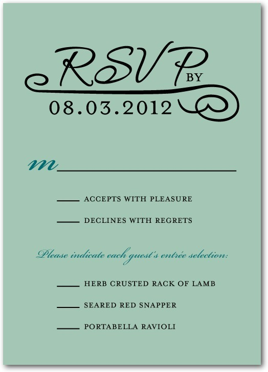 Signature white wedding response cards, Elegant Occasion