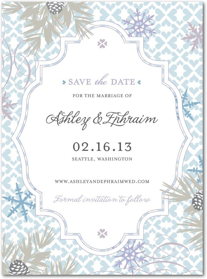 photo of Signature white save the date cards, Bohemian Winter