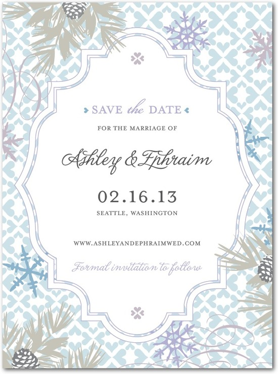 Signature white save the date cards, Bohemian Winter