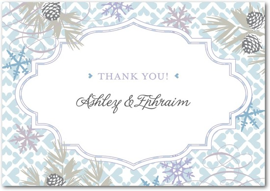 photo of Signature white thank you cards, Bohemian Winter